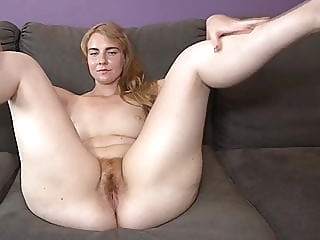 MILF hairy beaver blonde close-up hairy