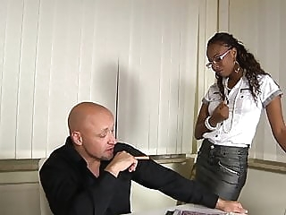 German ebony secretary gets fucked in office blowjob tits stockings