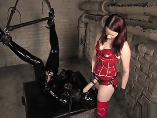 Anal, latex and obedience training for hubby. anal bdsm femdom
