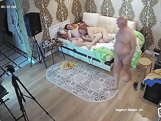 Older husband brings young lover for his granny wife amateur voyeur cuckold