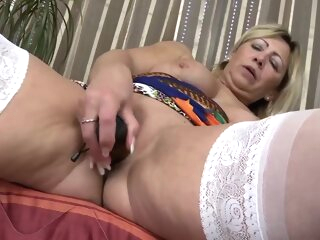 Big Breasted Granny Encircling White Stockings Alone big tits blonde european