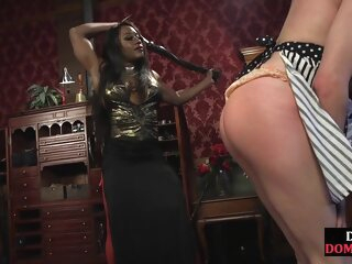 Black domina whipping and pegging disconcerting sub african bdsm big tits