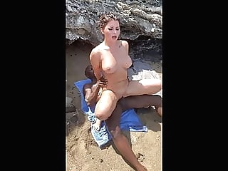 Anna Polina interracial public sex on beach - MySexMobile beach blowjob brunette