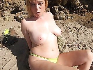 STEPMOM SEDUCES STEPSON ON VACATION ON THE BEACH (POV) blowjob bbw mature