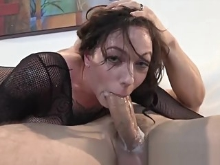 Babe in fishnet catsuit and thigh high boots gets fucked brunette straight tattoo