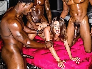 Three Negro gave the brunette a double penetration and group anal... anal brunette double penetration
