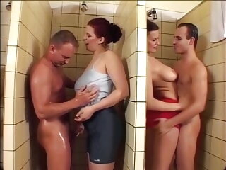 Stefany and Michelle close in all directions men's shower orgy, upscaled in all directions 60fps 4K blowjob shower group sex