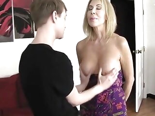 Erica Lauren and young boys blonde blowjob cumshot